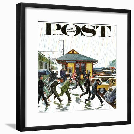 """""""Commuters in the Rain,"""" Saturday Evening Post Cover, October 7, 1961-John Falter-Framed Premium Giclee Print"""