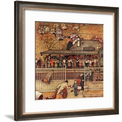 """""""Commuters"""" (waiting at Crestwood train station), November 16,1946-Norman Rockwell-Framed Giclee Print"""