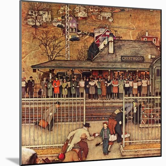 """""""Commuters"""" (waiting at Crestwood train station), November 16,1946-Norman Rockwell-Mounted Giclee Print"""
