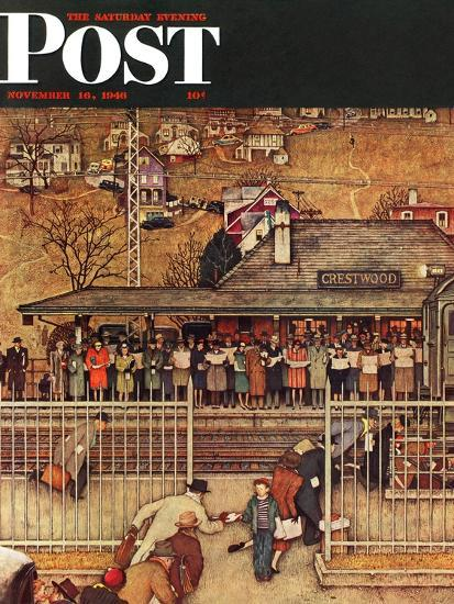 """""""Commuters"""" (waiting at Crestwood train station) Saturday Evening Post Cover, November 16,1946-Norman Rockwell-Premium Giclee Print"""