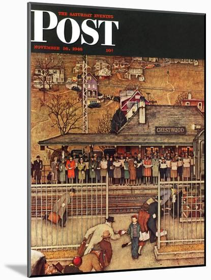 """""""Commuters"""" (waiting at Crestwood train station) Saturday Evening Post Cover, November 16,1946-Norman Rockwell-Mounted Giclee Print"""