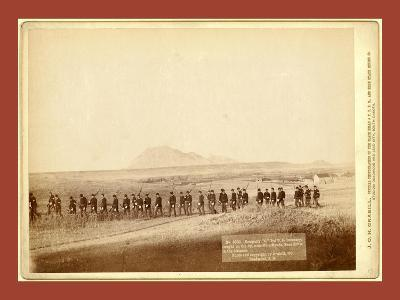 Company C, 3rd U.S. Infantry, Caught on the Fly, Near Fort Meade. Bear Butte in the Distance-John C. H. Grabill-Giclee Print