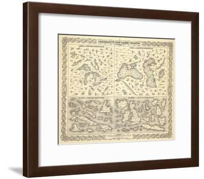 Comparative Size of Lakes and Islands, c.1856-G^ W^ Colton-Framed Art Print