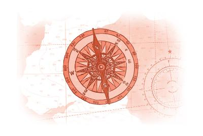 Compass - Coral - Coastal Icon-Lantern Press-Art Print