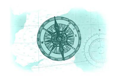 Compass - Teal - Coastal Icon-Lantern Press-Art Print