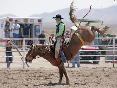 Competitor in the Bronco Riding Event During the Annual Rodeo Held in Socorro, New Mexico, Usa-Luc Novovitch-Photographic Print