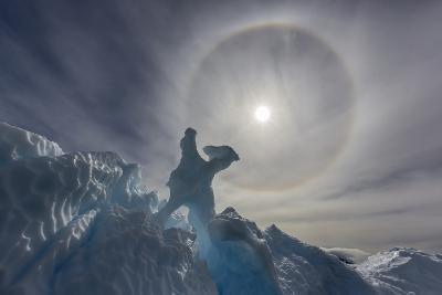 Complete Sun Halo and Glacial Iceberg Detail at Cuverville Island, Antarctica, Polar Regions-Michael Nolan-Photographic Print