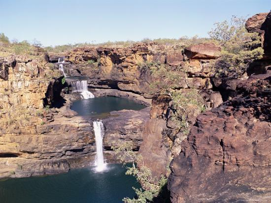 Complete View of All Four Stages of the Mitchell Falls, Kimberley, Western Australia, Australia-Richard Ashworth-Photographic Print