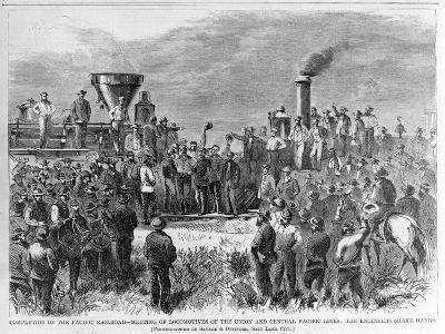 Completion of the Pacific Railroad - Meeting of Locomotives of the Union and Central Pacific Lines:--Giclee Print