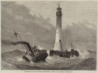 Completion of the Wolf-Rock Lighthouse, Putting the Keepers on the Rock--Giclee Print