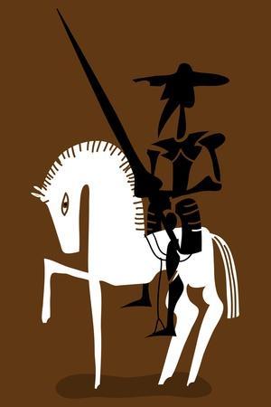 Don Quixote Knight and His Horse
