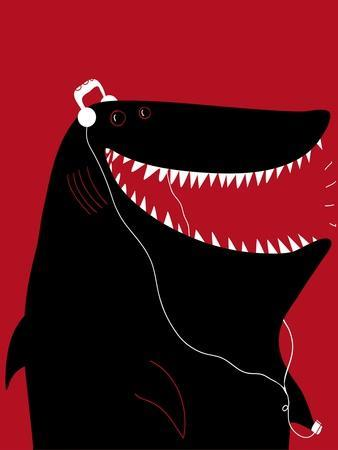 Shark with Headphones and Portable Audio Device
