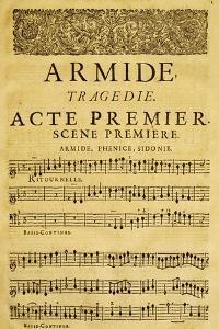 Score for Opera Armide, Act I, Scene One by Composer Giovanni Battista Lulli