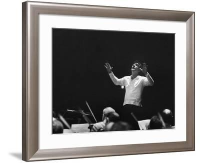 Composer Leonard Bernstein, While Conducting Musicians--Framed Premium Photographic Print