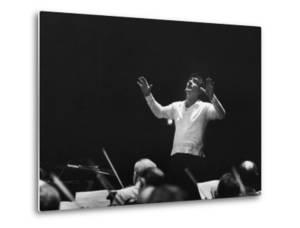 Composer Leonard Bernstein, While Conducting Musicians