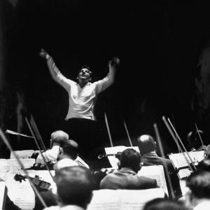 Composer Leonard Bernstein, While Conducting Musicians