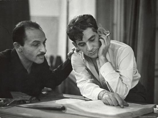 Composer Marc Blitzstein with Conductor/Composer Leonard Bernstein Studying Score of Blitzstein-W^ Eugene Smith-Premium Photographic Print