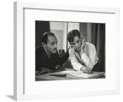 Composer Marc Blitzstein with Conductor/Composer Leonard Bernstein Studying Score of Blitzstein-W^ Eugene Smith-Framed Premium Photographic Print