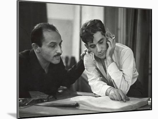 Composer Marc Blitzstein with Conductor/Composer Leonard Bernstein Studying Score of Blitzstein-W^ Eugene Smith-Mounted Premium Photographic Print