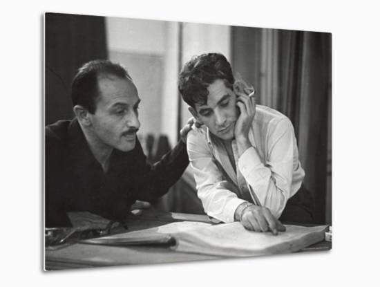 Composer Marc Blitzstein with Conductor/Composer Leonard Bernstein Studying Score of Blitzstein-W^ Eugene Smith-Metal Print