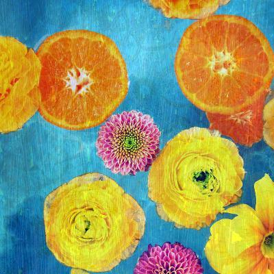 Composing of Blossoms and Slices of Orange on Blue Underground-Alaya Gadeh-Photographic Print