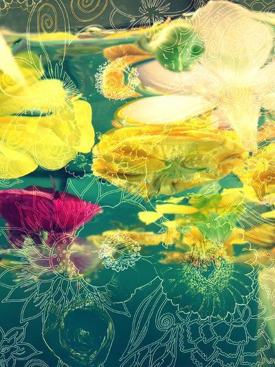 Composing, Yellow and Crimson Blossoms in Green Water, Floral Ornaments-Alaya Gadeh-Photographic Print