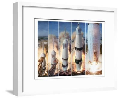 Composite 5 Frame Shot of Gantry Retracting While Saturn V Boosters Lift Off to Carry Apollo 11-Ralph Morse-Framed Premium Photographic Print