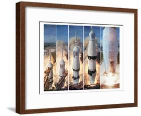 Composite 5 Frame Shot of Gantry Retracting While Saturn V Boosters Lift Off to Carry Apollo 11-Ralph Morse-Framed Photographic Print