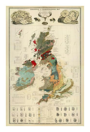 Composite: Geological and Palaeontological Map of the British Islands, c.1854-Alexander Keith Johnston-Art Print