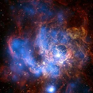 Composite Image from Chandra and Hubble Data, Divided Neighborhood of Some 200 Hot, Young Stars