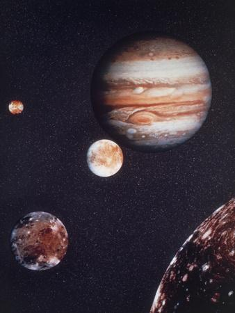 Composite Image of Jupiter & Four of Its Moons--Premium Photographic Print