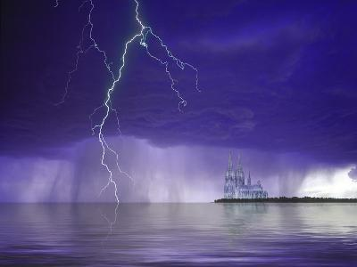 Composite of Fantasy Cathedral, Lightning and Water-Jaynes Gallery-Photographic Print
