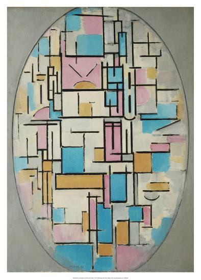 Composition in Oval with Color Planes 1, 1914-Piet Mondrian-Art Print