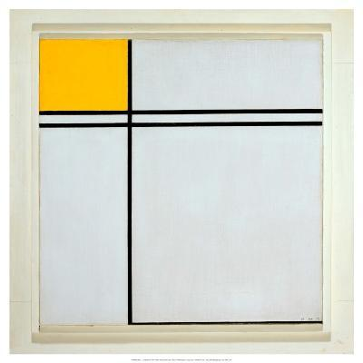 Composition with Yellow and Double Line, 1932-Piet Mondrian-Art Print