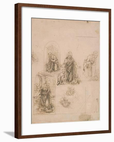 Compositional Sketches for the Virgin Adoring the Christ Child, 1480-85-Leonardo Da Vinci-Framed Giclee Print