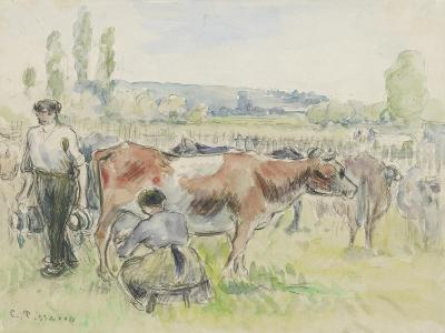 Compositional Study of a Milking Scene at Eragny-Sur-Epte, 1884 (Watercolour over Black Chalk)-Camille Pissarro-Giclee Print