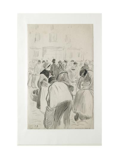 Compositional Study of the Market at Pontoise, 1881 (Black Chalk and Grey Washes)-Camille Pissarro-Giclee Print
