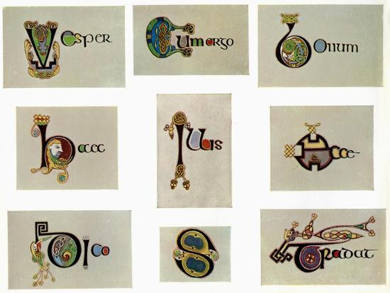 Compound letters, 800 AD, (20th century). Artist: Unknown-Unknown-Giclee Print