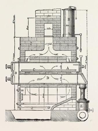 Compressed Oil Gas for Lighting Cars, Steamboats, and Buoys: Section a Furnace, 1882--Giclee Print