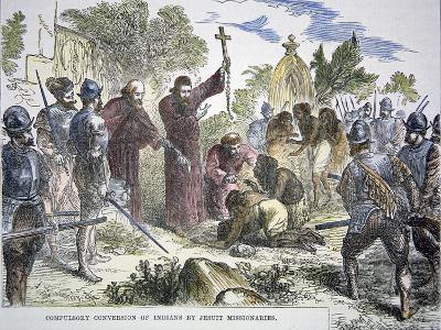 Compulsory Conversion of Native Americans to Christianity by Spanish Jesuit Missionaries, c.1500--Giclee Print