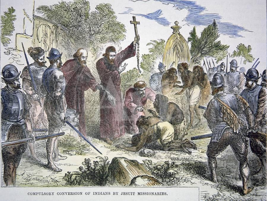 Compulsory Conversion Of Native Americans To Ity By Spanish Jesuit Missionaries C 1500 Giclee Print Art