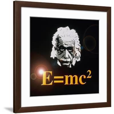 Computer Artwork of Albert Einstein And E=mc2-Laguna Design-Framed Photographic Print
