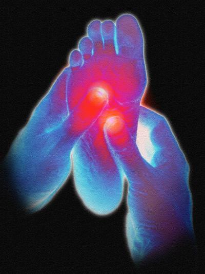Computer Artwork of Reflexologist Massaging a Foot-David Gifford-Photographic Print