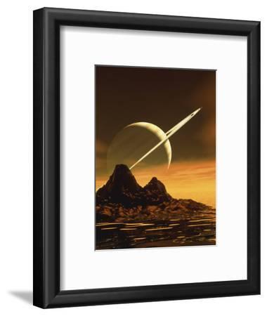 Computer Artwork of Titan's Surface And Saturn-Julian Baum-Framed Premium Photographic Print