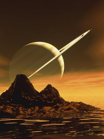Computer Artwork of Titan's Surface And Saturn-Julian Baum-Photographic Print