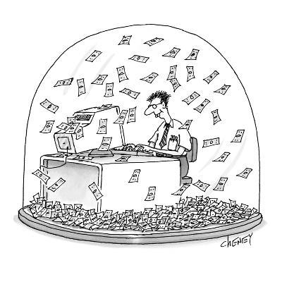 Computer geek sits inside snow globe. Instead of snow, money is falling al… - New Yorker Cartoon-Tom Cheney-Premium Giclee Print