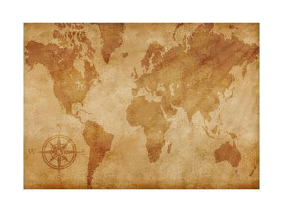 Computer Generated Old Map Of The World- alehnia-Art Print
