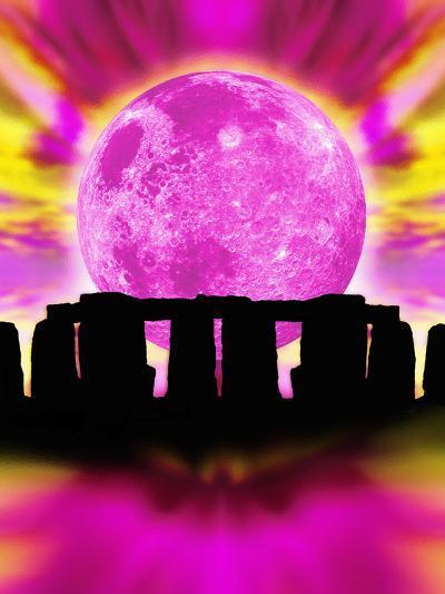 Computer Illustration of Stonehenge And the Moon-Victor Habbick-Photographic Print