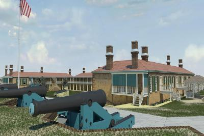 Computer Recreation of the Officers Quarters, Barracks, and Cannon, Prior to the American Civil War--Giclee Print