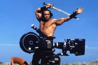 Conan the Barbarian 1982 Directed by John Milius on the Set, Arnold Schwarzenegger.--Photo